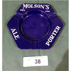 VINTAGE 1950'S MOLSON'S BEER PORCELAIN ASHTRAY