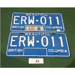 PAIR OF EXPO 86 BC LICENSE PLATES