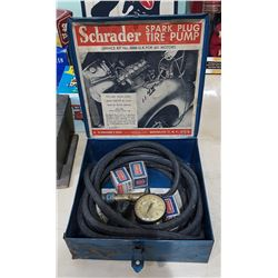 1950'S SCHRAEDER SPARK PLUG TIRE PUMP KIT
