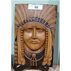 CARVED INDIAN CHIEF PLAQUE