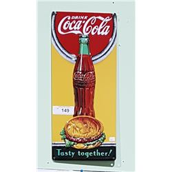 "COCA COLA ""TASTY TOGETHER"" HAMBURGER EMBOSSED SIGN"