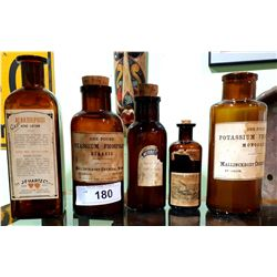 5 EARLY 1900'S DRUG STORE APOTHECARY BOTTLES