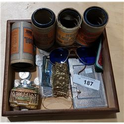 WOOD TRAY OF MISC VINTAGE ITEMS