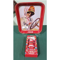 COCA COLA RED TRAY & COLLECTIBLE SANTA TIN W/PLAYING CARDS