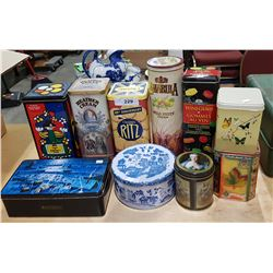 9 COLLECTORS TIN CANS