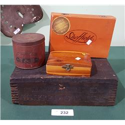 4 PIECE COLLECTIBLE WOOD BOXES & TOBACCO TINS