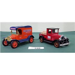 2 DIE CAST TRUCK COIN BANKS