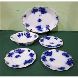 5 PC W.H.GRINDLEY & CO FLOW BLUE CHINA IN THE GIRONDE PATTERN