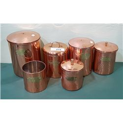 6 COPPER CANNISTERS