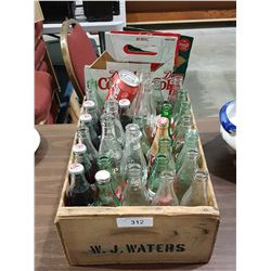 WOOD CRATE W/COLLECTIBLE COCA COLA BOTTLES AND CARRIERS