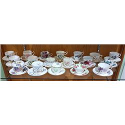 18 ENGLISH BONE CHINA TEACUPS/SAUCERS