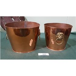 2 HAND BEATEN COPPER ICE BUCKETS W/LION'S HEAD HANDLES