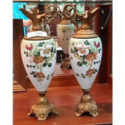 ANTIQUE PAIR HAND PAINTED GLASS DECORATIVE EWERS