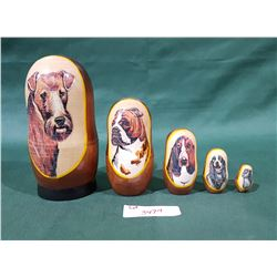 VINTAGE SET NESTING DOLLS W/DOG MOTIF
