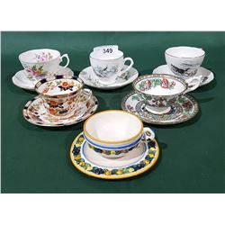 SIX BONE CHINA TEACUPS/SAUCERS