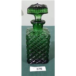 VINTAGE GREEN GLASS WHISKEY DECANTER