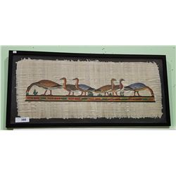 FRAMED, SIGNED HAND PAINTED PAPYRUS