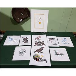 COLLECTION OF 11 SIGNED NATIVE PRINTS