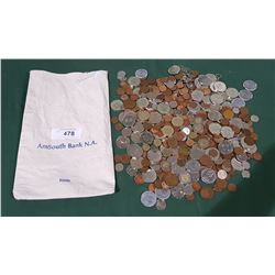 AMSOUTH BANK N.A. MONEY BAG W/COLLECTION OF WORLD COINS & TOKENS