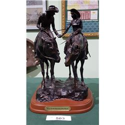 "HANDCRAFTED COWBOY STATUE ""TWO TRAILS BECOMING ONE ROAD"" SIGNED"