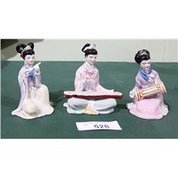 SET OF 3 ASIAN PORCLEAIN FIGURINES