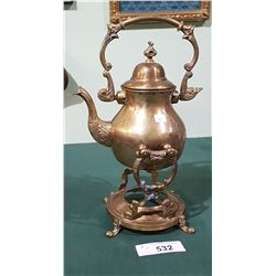 VINTAGE BRASS TEAPOT ON WARMING STAND