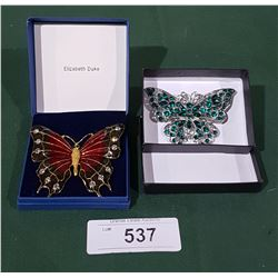 2 VINTAGE BUTTERFLY BROOCHES