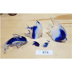 COLLECTION OF ART GLASS SEA LIFE