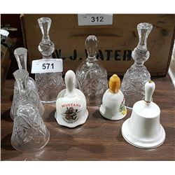 COLLECTION OF 8 CRYSTAL & CHINA BELLS
