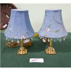 PAIR SMALL BRASS TALE LAMPS W/EMBROIDERED SHADES