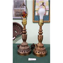 PAIR VINTAGE BRASS TABLE LAMPS