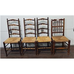 4 ANTIQUE RUSH SEAT CHAIRS