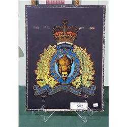 VINTAGE RCMP DECAL MOUNTED ON BOARD