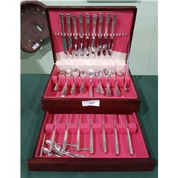 APPROX 57 PC SET SILVERPLATE FLATWARE IN CANTEEN