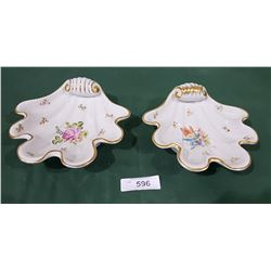 PAIR HUNGARIAN HAND PAINTED PORCELAIN SHELL DISHES