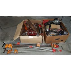 2 BOXES OF HAND & POWER TOOLS & METAL CLAMPS