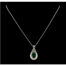 4.26 ctw Emerald and Diamond Pendant With Chain - 14KT White Gold