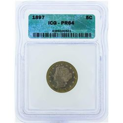 1897 Liberty V Proof Nickel Coin ICG PR64