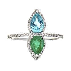 0.77 ctw Emerald and Diamond Ring - 14KT White Gold