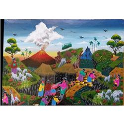 "13 3/4"" X 9 3/4"" Unframed Painting On Animal Skin-cayo-haitian? Village Scene"