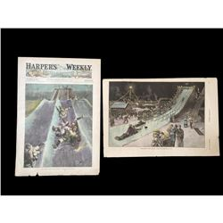 19thc Hand-colored Engravings, Winter Sports