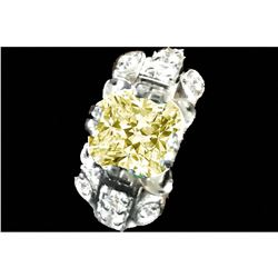 3.15ct Fancy Yellow & White Deco Design Moissanite Sterling  Ring