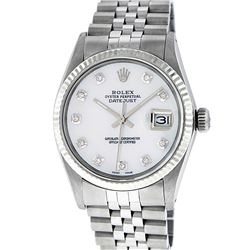 Rolex Mens Stainless Mother Of Pearl Diamond 36MM Datejust Wristwatch