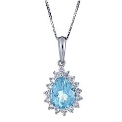 1.15 ctw Apatite and Diamond Pendant - 18KT White Gold