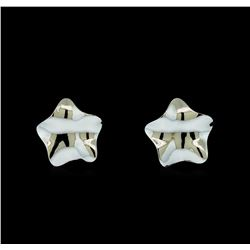 Glossy Star Shaped Post Earrings - Rhodium Plated