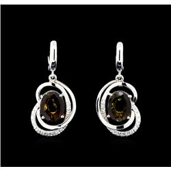 4.15 ctw Tourmaline and Diamond Earrings - 14KT White Gold