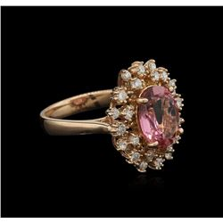 3.06 ctw Pink Tourmaline and Diamond Ring - 14KT Rose Gold