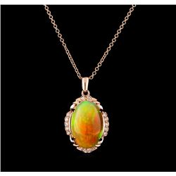 17.30 ctw Opal and Diamond Pendant With Chain - 14KT Rose Gold