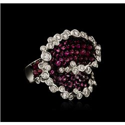 18KT Two-Tone Gold 3.00 ctw Pink Sapphire and Diamond Ring