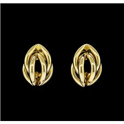 Braided Shell Shaped Post Earrings - Gold Plated